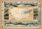 Historical Defense Map United States Navy Military War Emblems Wall Poster
