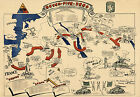 WWII Military War Map Seven-Five-Zero Tank Battalion World War II Wall Poster