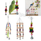 Pet Bird Parrot Parakeet Budgie Cockatiel Cage Wood Swing Bell Chew Toy Hanging