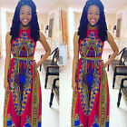 Women Sexy Maxi Dress Africa Print Floral Dress Dashiki Sleeveless Long Dresses