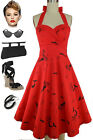50s Style Eleanor Paige PINUP RED & BLACK MERMAID STARFISH Print HALTER SunDress