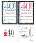 AGE 40 - 40th BIRTHDAY Party Invitations & Envelopes Boy Male Girl Female Invite