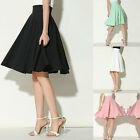 Summer Women's High Waist Casual Party Skater Flared Pleated Swing Midi Skirt