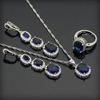 NEW Jewelry Set Sapphire Silver Plated Fashion Necklace Pendant+earring+Ring 97k