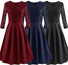 Women's Vintage Lace 3/4 Sleeve Pleated Formal Cocktail Party Swing Dress