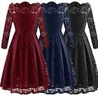 UK Women's Full Lace Floral 1950s Vintage Long Sleeve Party Swing Dresses