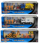 Teamsterz City Vehicle Playset Toy Skip Garbage Truck Digger Set With Figures