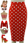 50s Style RED POLKA DOT Print High Waist PLUS SIZE Wiggle PENCIL Skirt