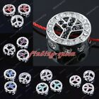5x Side Way Crystal Round Hollow Peace Symbol Connector Charms Bead For Bracelet