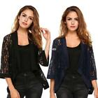 New Women Casual Flare Sleeve Floral Lace Loose Jacket Kimono From Top S0BZ