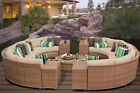 TK Classics Laguna 11 Piece Rattan Sectional Seating Group with Cushions