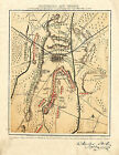 1863 Civil War Map Gettysburg Military Battles Vintage History Wall Art Print