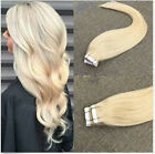 "20pcs #60 16""-24"" PU Tape In Remy straight 100% Human Hair Extensions"