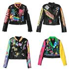 H Women Fashion Multicolor Punk Leather Motorcycle Jacket Graffiti Street 2017