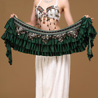 New! 01361 Deluxe Vintage  Belly Dance Hip Scarf  Satin Coins Belt Costume Skirt