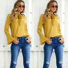 New Fashion Womens Summer Long Sleeve Casual Blouse Loose Cotton Tops T-Shirt