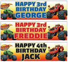 """2 PERSONALISED 36"""" x 11"""" BLAZE AND THE MONSTER MACHINES BIRTHDAY BANNERS"""