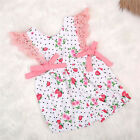 Toddler Jumpsuit Baby Girls Strawberry LaceDot Bowknot Clothing Sunsuit Jumpsuit