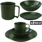 Camping Cadet Festival Green Plastic Plate Bowl Mug Army Combat Military Set New