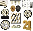 BLACK & GOLD Age 21 - Happy 21 Birthday Bday PARTY ITEMS Decorations Tableware