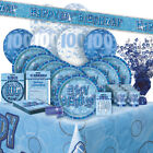 AGE 100/100TH BIRTHDAY BLUE GLITZ PARTY RANGE (Balloon/Decorations/Banner)