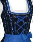 DIRNDL Oktoberfest German Party Swing Dress EMBROIDERED 3-Pcs Short BLACK BLUE