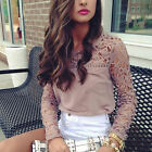 Fashion Women Ladies Loose Casual Long Sleeve T-Shirt Lace  Blouse Tops T-Shirt