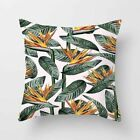 Green Tropical Plant Pillow Case Linen Sofa Bed Cushion Cover Decorative