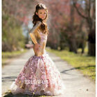 New Gold Shinny Flower Girl Mermaid Dresses Sequins Applique Pageant Gowns Party