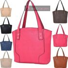 LADIES NEW GEOMETRIC PATTERN PANEL FAUX LEATHER TOTE SHOULDER BAG
