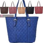 NEW WOMENS FAUX LEATHER QUILTED PATTERN SHOULDER SHOPPER BAG