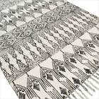 3 X 5 ft to 5 X 7 ft White Black Cotton Weave Hand Woven Area Rug Dhurrie Rag