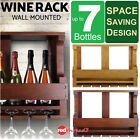 Timber Wine Rack 7 Bottles Wall Mounted Organiser Glass Holder Storage Display