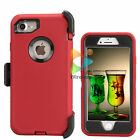 For Apple iPhone 7 / 7+ Plus Defender Case With Clip Screen Protector Red