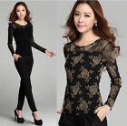 Womens Long Sleeve Embroidery Lace Crochet Tops Lace Shirt Blouse Sweet