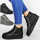 Womens Ladies Flat Trainers Sneakers Ankle Hi Top Comfy Lace Up Pumps Boot Shoes