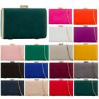 FAUX SUEDE NEW WOMENS DIAMANTE DETAIL CHAIN HARDCASE PARTY CLUTCH BAG PURSE