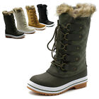 ollio Womens Shoes Lace Up Quilted Fur Snow Duck Boot