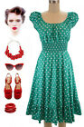50s Style TURQUOISE &White POLKA Dot PLUS SIZE Peasant On/Off The Shoulder Dress