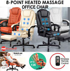 8 Point Executive Massage Office Computer Chair Heated Recliner Footrest Remote