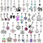 Gem Belly Bar - 200+ Designs/Colours - Belly Button Body Piercing Navel Ring
