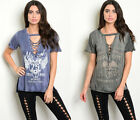 S M L Distressed Graphic Tee Lace-Up V-Neck Loose Oversized Grunge Tunic T-Shirt