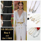 Women Skinny Thin Pearl Metal Leaves Bow tie Waist Belt Narrow Waistband