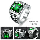 Promise Square Green Emerald Silver Stainless Steel Mens Engagement Rings Band