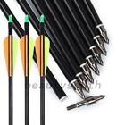 25pcs Fiberglass Fletched Arrows Compound Bow Hunt Target Practice Training