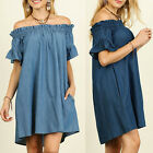 Hot Plus Size Fashion Womens Off The Shoulder Bardot Denim Look Shirt Dress Tops