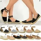 Womens Ladies Espadrilles Flat Summer Sandals Studded Designer Rock Shoes Size