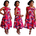 Women's Sexy Off Shoulder African Print Party Clubwear Cocktail Dress Plus Size