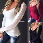 New Fashion Women Casual V-Neck Long Sleeve Mesh Patchwork Pullover EN24H