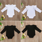 Pure Colour Infant Baby Boys Girls Cotton Romper Jumpsuit Bodysuit Outfit 0-18 M